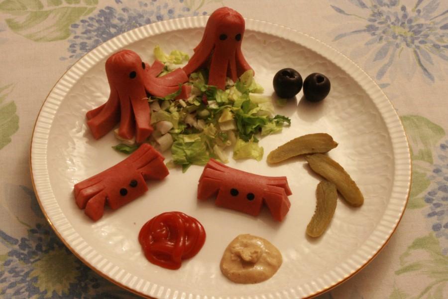 Pulpos y cangrejos de salchicha