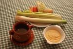 Caldo de pollo y Puré de verduras