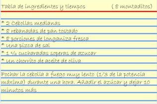 Receta de Montadito de Longaniza con Cebolla caramelizada